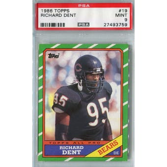 1986 Topps Football #19 Richard Dent PSA 9 (Mint) *3759 (Reed Buy)