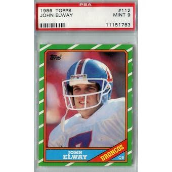 1986 Topps Football #112 John Elway PSA 9 (Mint) *1763 (Reed Buy)