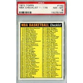 1972/73 Topps Basketball #160 NBA Checklist 1-176 PSA 8 (NM-MT) *5186 (Reed Buy)