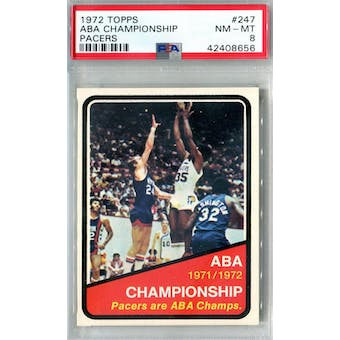 1972/73 Topps Basketball #247 ABA Pacers Champs PSA 8 (NM-MT) *8656 (Reed Buy)