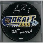 Corey Perry Autographed 2003 NHL Draft Hockey Puck (AJSW COA)