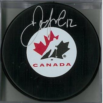 Jarome Iginla Autographed Canada Hockey Puck (AJSW COA)