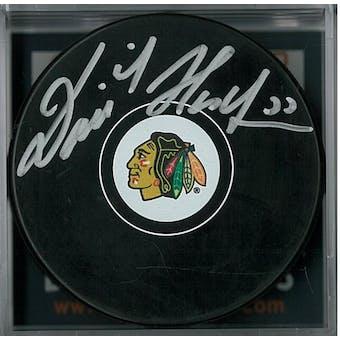 Dominik Hasek Autographed Chicago Blackhawks Hockey Puck  (DACW COA)