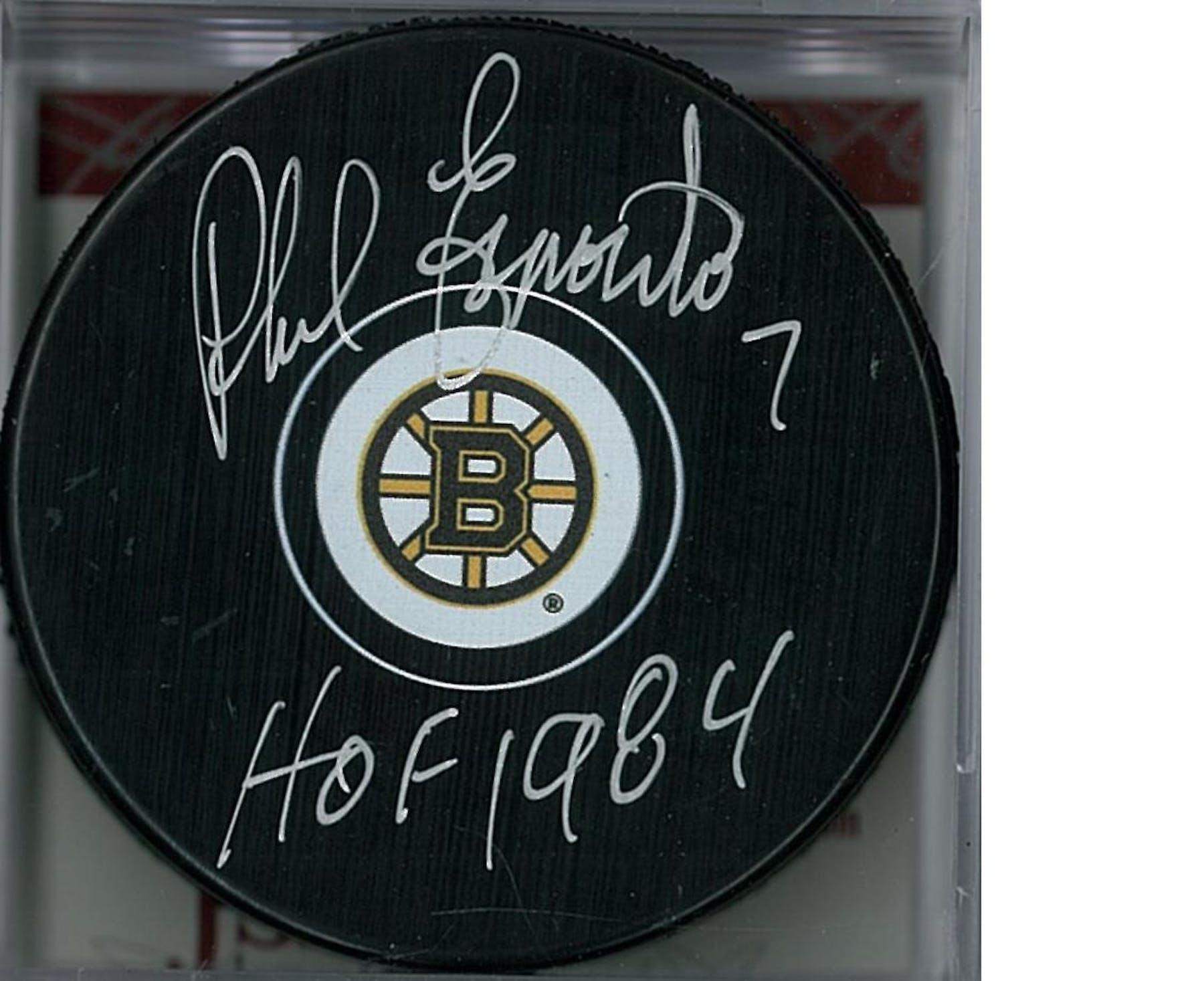 new style 48cd9 f96fa Phil Esposito Autographed Boston Bruins Hockey Puck (JSA COA)