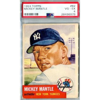 1953 Topps Baseball #82 Mickey Mantle PSA 4 (VG-EX) *6979 (Reed Buy)