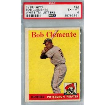 1958 Topps Baseball #52 Roberto Clemente WL PSA 6 (EX-MT) *2261 (Reed Buy)