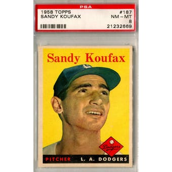 1958 Topps Baseball #187 Sandy Koufax PSA 8 (NM-MT) *2669 (Reed Buy)