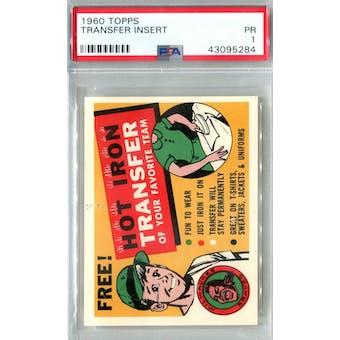 1960 Topps Baseball Transfer Insert PSA 1 (Poor) *5284 (Reed Buy)
