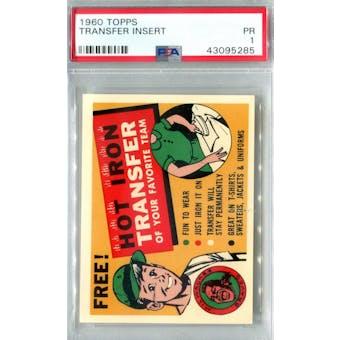 1960 Topps Baseball Transfer Insert PSA 1 (Poor) *5285 (Reed Buy)