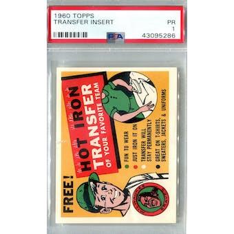 1960 Topps Baseball Transfer Insert PSA 1 (Poor) *5286 (Reed Buy)