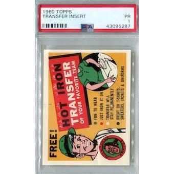 1960 Topps Baseball Transfer Insert PSA 1 (Poor) *5287 (Reed Buy)