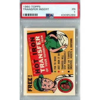 1960 Topps Baseball Transfer Insert PSA 1 (Poor) *5289 (Reed Buy)