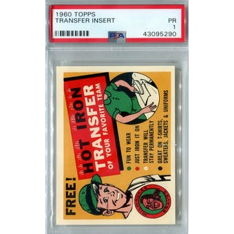 1960 Topps Baseball Transfer Insert PSA 1 (Poor) *5290 (Reed Buy)