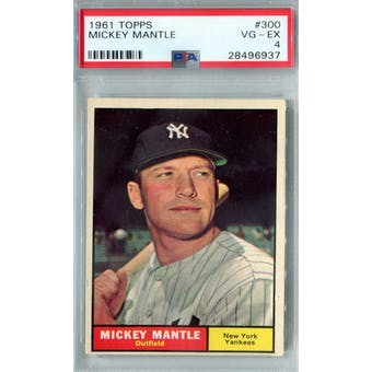 1961 Topps Baseball #300 Mickey Mantle PSA 4 (VG-EX) *6937 (Reed Buy)