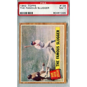1962 Topps Baseball #138 The Famous Slugger PSA 7 (NM) *1335 (Reed Buy)