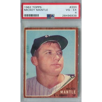 1962 Topps Baseball #200 Mickey Mantle PSA 4 (VG-EX) *6938 (Reed Buy)
