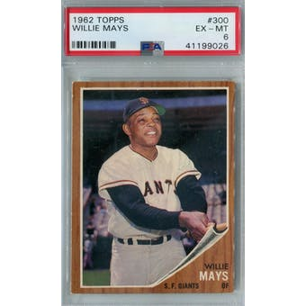 1962 Topps Baseball #300 Willie Mays PSA 6 (EX-MT) *9026 (Reed Buy)