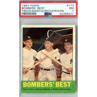 1963 Topps Baseball #173 Bombers' Best PSA 7 (NM) *8977 (Reed Buy)