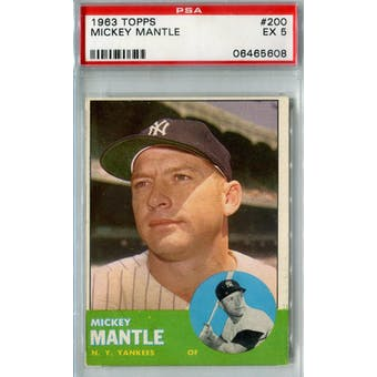 1963 Topps Baseball #200 Mickey Mantle PSA 5 (EX) *5608 (Reed Buy)