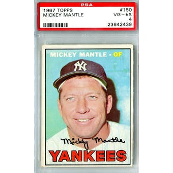 1967 Topps Baseball #150 Mickey Mantle PSA 4 (VG-EX) *2439 (Reed Buy)