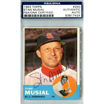 1963 Topps Baseball #250 Stan Musial PSA Blue Label Auto *7424 (Reed Buy)