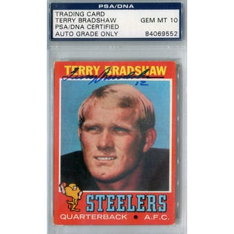 1971 Topps Football #156 Terry Bradshaw RC PSA Blue Label Auto 10 *9552 (Reed Buy)