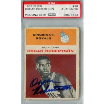 1961/62 Fleer Basketball #36 Oscar Robertson RC PSA AUTH Auto *8623 (Reed Buy)