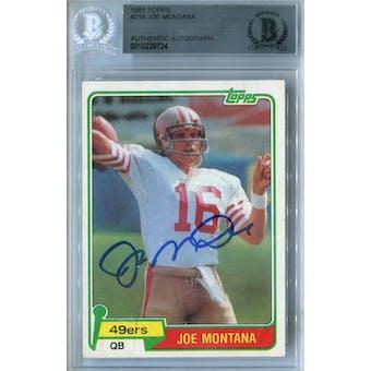 1981 Topps Football #216 Joe Montana RC BVG AUTH Auto *8724 (Reed Buy)
