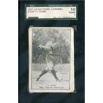 1921-23 E220 National Caramel Baseball Ty Cobb SGC 10 (Poor) *6017 (Reed Buy)