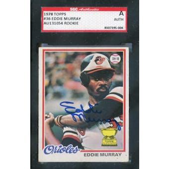 1978 Topps Baseball #36 Eddie Murray SGC AUTH Auto *5004 (Reed Buy)