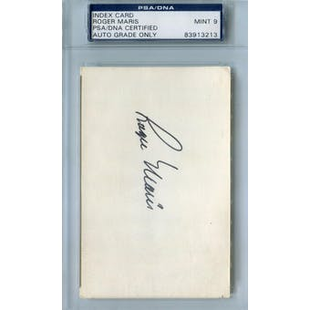 Roger Maris Index Card PSA Blue Label AUTH Auto 9 *3213 (Reed Buy)