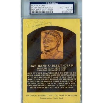 Dizzy Dean Yellow HOF Plaque PSA Blue Label AUTH Auto *5101 (Reed Buy)