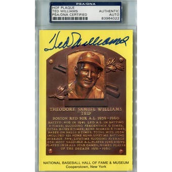 Ted Williams Yellow HOF Plaque Autograph PSA AUTH *4022 (Reed Buy)