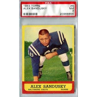 1963 Topps Football #6 Alex Sandusky PSA 7 (NM) *6655 (Reed Buy)