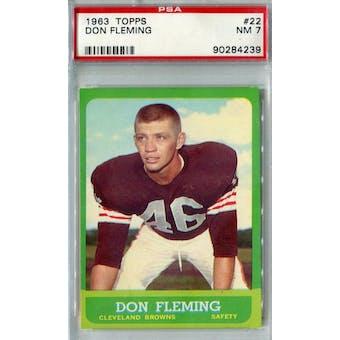 1963 Topps Football #22 Don Fleming PSA 7 (NM) *4239 (Reed Buy)