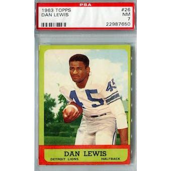 1963 Topps Football #26 Dan Lewis PSA 7 (NM) *7650 (Reed Buy)