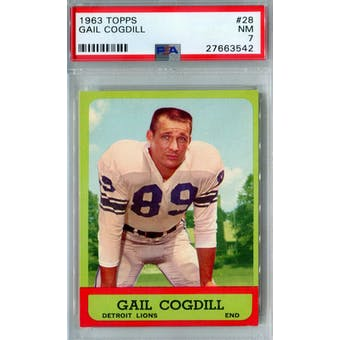1963 Topps Football #28 Gail Cogdill PSA 7 (NM) *3542 (Reed Buy)