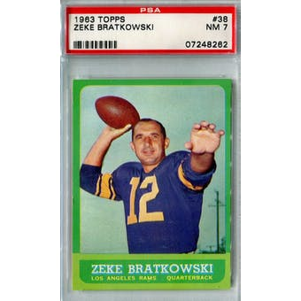 1963 Topps Football #38 Zeke Bratkowski PSA 7 (NM) *8262 (Reed Buy)