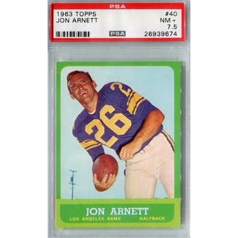 1963 Topps Football #40 Jon Arnett PSA 7.5 (NM+) *9674 (Reed Buy)