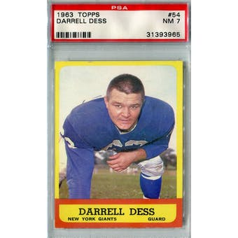 1963 Topps Football #54 Darrell Dess PSA 7 (NM) *3965 (Reed Buy)
