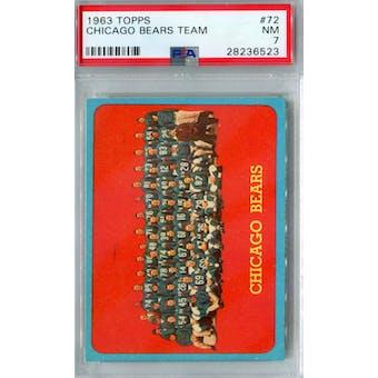 1963 Topps Football #72 Chicago Bears Team PSA 7 (NM) *6523 (Reed Buy)