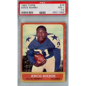 1963 Topps Football #76 Amos Marsh PSA 7.5 (NM+) *1062 (Reed Buy)