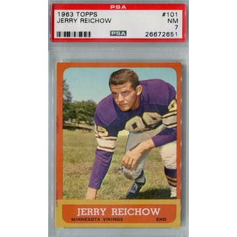 1963 Topps Football #101 Jerry Reichow PSA 7 (NM) *2651 (Reed Buy)