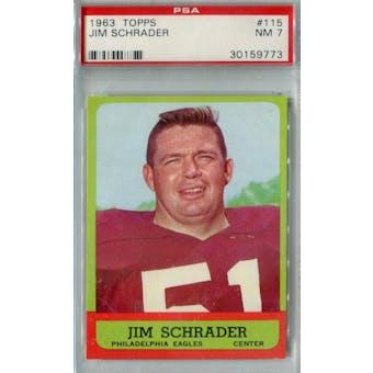 1963 Topps Football #115 Jim Schrader PSA 7 (NM) *9773 (Reed Buy)