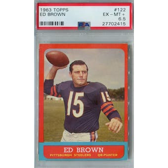 1963 Topps Football #122 Ed Brown PSA 6.5 (EX-MT+) *2415 (Reed Buy)