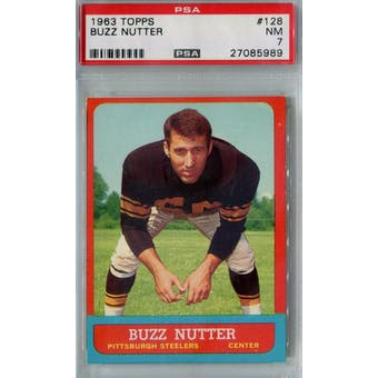 1963 Topps Football #128 Buzz Nutter PSA 7 (NM) *5989 (Reed Buy)