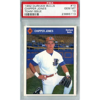 1992 Durham Bulls Team Issue Baseball #10 Chipper Jones PSA 10 (GM-MT) *5113 (Reed Buy)
