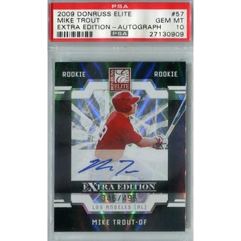 2009 Donruss Elite Extra Edition Baseball #57 Mike Trout Autograph #/495 PSA 10 (Gem Mint) *0909 (Reed Buy)