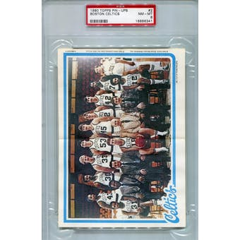 1980/81 Topps Pin-ups Basketball #2 Boston Celtics PSA 8 (NM-MT) *6341 (Reed Buy)