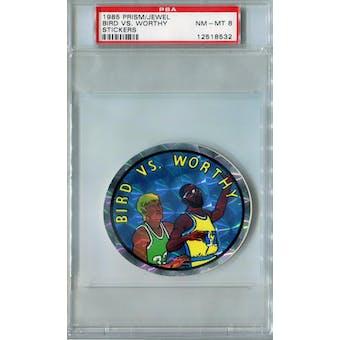 1985 Prism/Jewel Stickers Basketball Bird vs. Worthy PSA 8 (NM-MT) *8532 (Reed Buy)